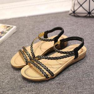 SANDALE - NU-PIEDS Sandales Femme Chaussures Plates de Bohême simple
