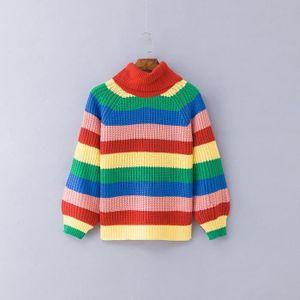 a170ae853f1 SOUS-PULL Pull femme court hiver en tricot couleur arc-en-ci