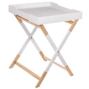 TABLE D'APPOINT Table pliante carrée en MDF coloris blanc - Dim :