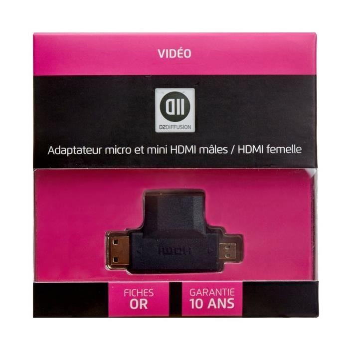 D2 Adaptateur 0 micro et mini HDMI mâle/ HDMI femelle