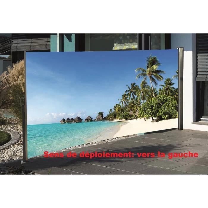 brise vue r tractable avec motif photo 160 x 300 cm plage. Black Bedroom Furniture Sets. Home Design Ideas