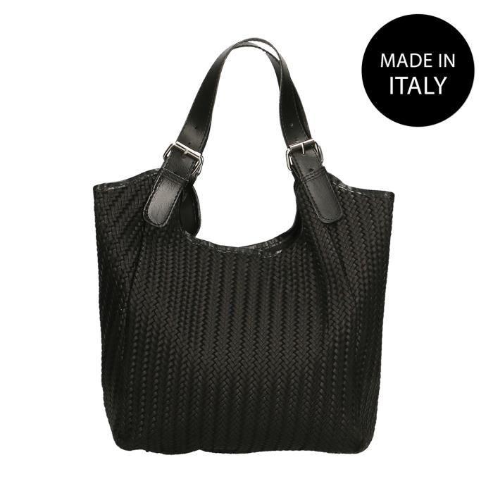 09f7ad7be6 CHICCA BORSE Sac à Main pour Femme motif Tressé en cuir véritable made in  Italy noir 32x31x9 Cm