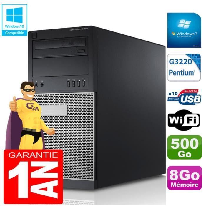 UNITÉ CENTRALE  PC Tour DELL 9020 Intel G3220 Ram 8Go Disque 500 G
