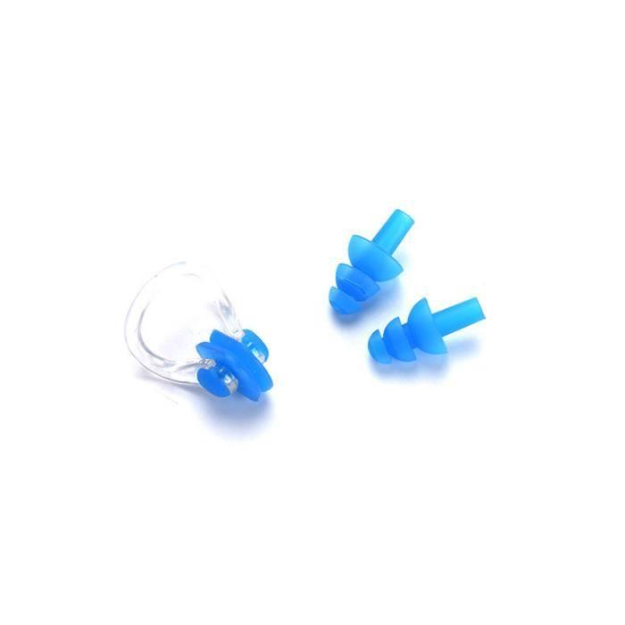Clip de narin de bain de silicone avec bouchons d'oreille pour la natation ou d'autres sports nautiques Bleu