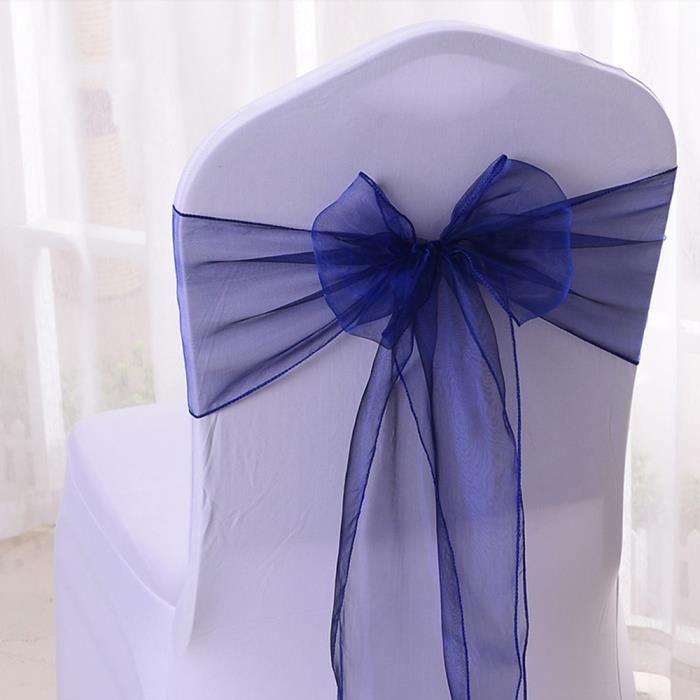 25pcs Organza Noeud Chaise Bleu Fonc Tulle Dco Mariage Fte Banquet Dcoration