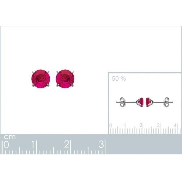 Boucles doreilles ronde en argent pierre rose