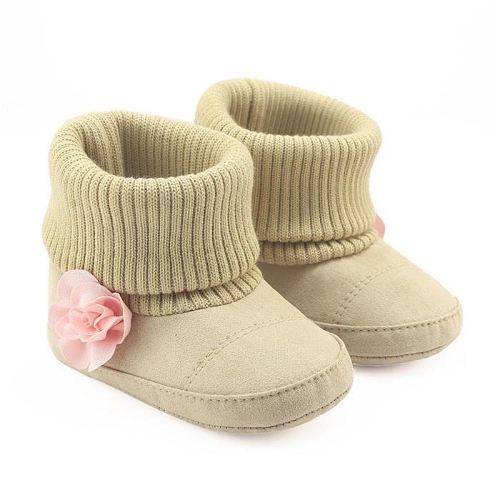 bébé bambin enfant fille bottes de neige semelles douces prémarcheur chaussures de berceau marron FTZEui5