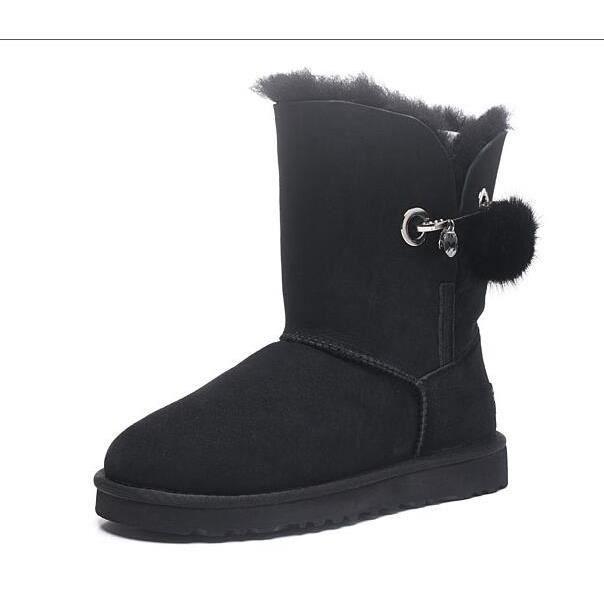 Ugg Classic Australia Femmes Cuir Botte d hiver Sheepskin Noir Noir ... eee5c5bdee0