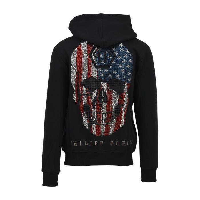 Sweatshirt zip à capuche Philipp Plein - AMERICA - Homme Noir NOIR ... 38071cde257b