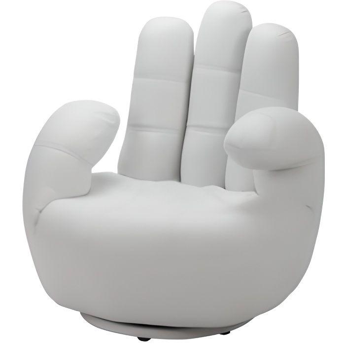 fauteuil main pivotant catchy en simili blanc achat vente fauteuil blanc cdiscount. Black Bedroom Furniture Sets. Home Design Ideas