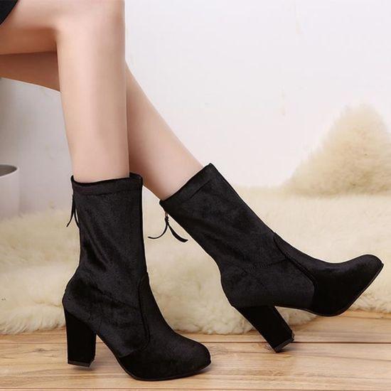 Les Les Les femmes Boucle dames Faux Bottes chaudes Bottines High Heels Martin Chaussures Noir Noir - Achat   Vente botte 437b79