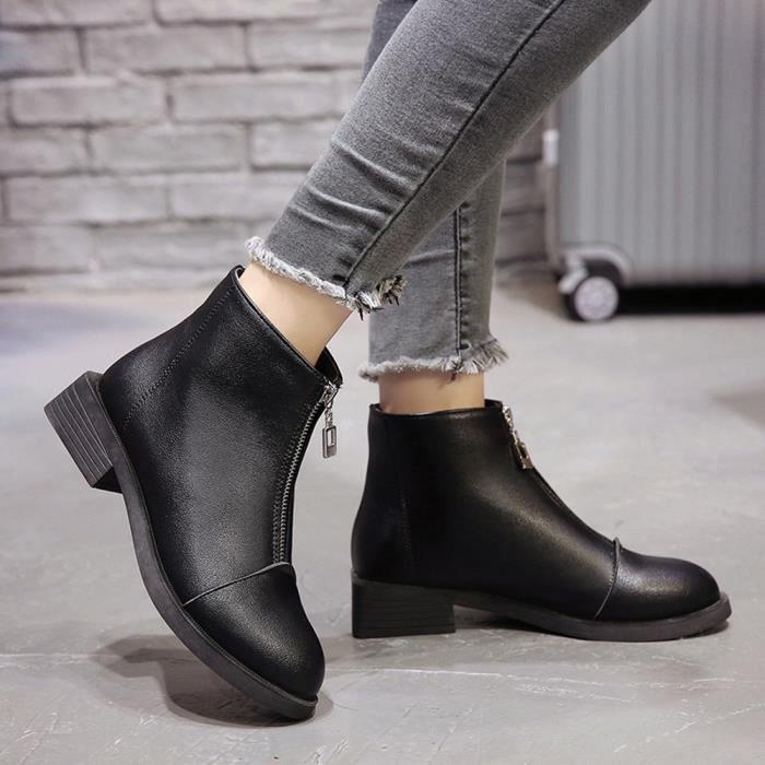 Femmes Solide Toe Zipper Bottes Couleur modehall2291 Cuir Martain Shoes Chaussures Ronde En Talon Carrées UrzURf