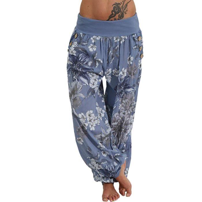 Pantalons Imprimer De Poche Bouton Pantalon Bleu Large Sarouel En Casual Femmes Vrac dCBxoQWreE