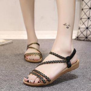 Napoulen®Mode sandales d'été peep-toe basses romaines pour femmes dames Blanc-XPP71222521WH Shdz2aeNOV