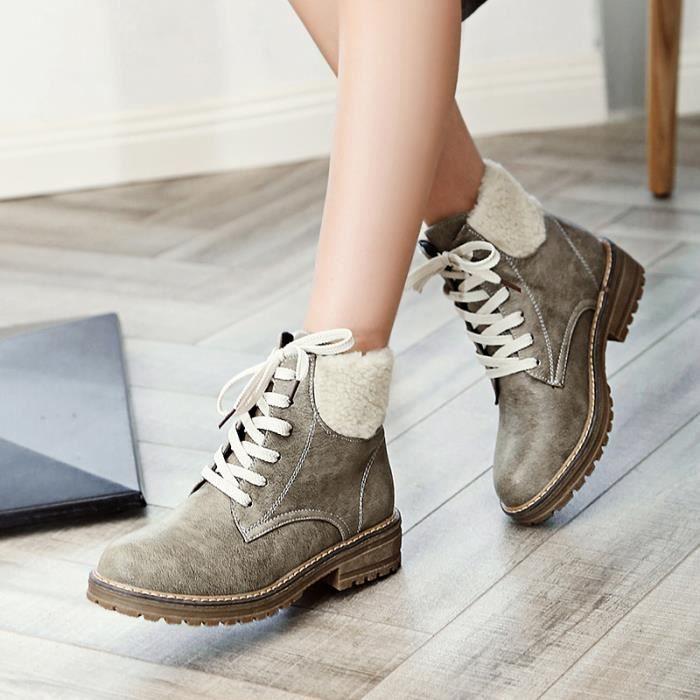 Femme Ankle Boot Chic Tempérament Aimable Nouveau Individualité Young Confortable Automne Hiver Carré Antidérapage Chaud