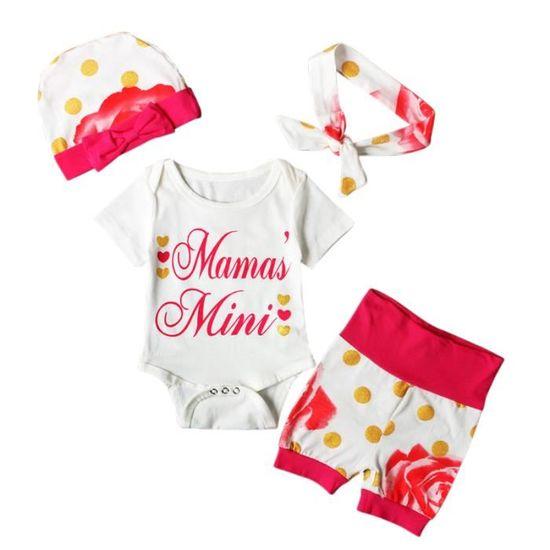 4dcd7f0882e6 0-24 Mois Bébé Fille Pyjamas à Point Fleur 4 Pcs Ensemble de Vêtement    Body + Short + Bandeau + Bonnet Rouge Rouge - Achat   Vente ensemble de  vêtements ...