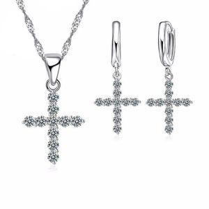 PARURE Parure croix oxyde de zirconium argent 925 bijou f