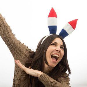 SOMMIER Serre-tête aux oreilles de lapin drapeau français