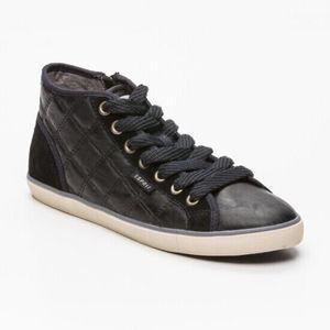 BASKET ESPRIT Sneakers montantes en cuir et cuir suédé no