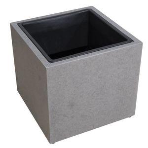 JARDINIÈRE - POT FLEUR  Cache-pot en fibre de ciment - 37x37x34cm - Gris