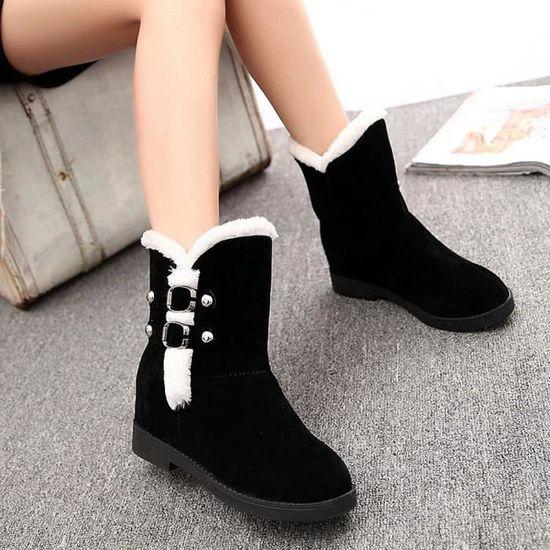 Chaud Bottes de neige Femme Plate-forme Bottines Chaussures d'hiver femme Slip Chaussures Noir Noir - Achat / Vente botte