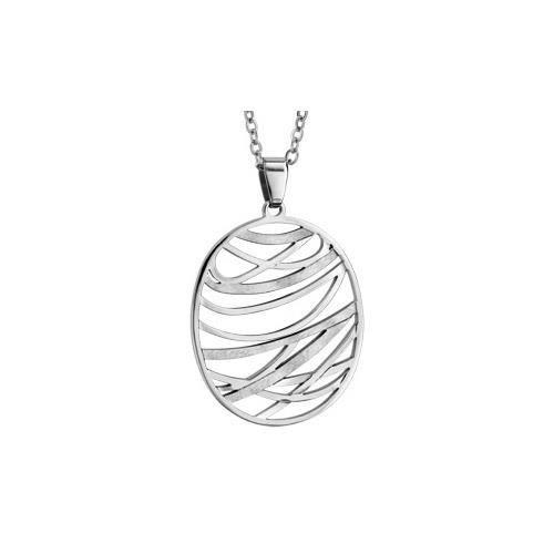 Collier acier pendentif ovale effet mat et brillan