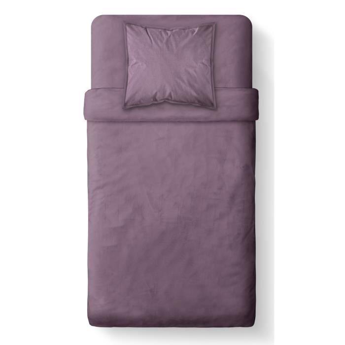 Dimensions : 140x200cm - Composition : 100% coton - Coloris : Figue - Lavable à 40°CHOUSSE DE COUETTE