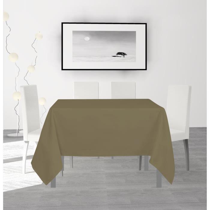 SOLEIL D'OCRE Nappe anti-tâches carrée Alix - 140 x 140 cm - Taupe
