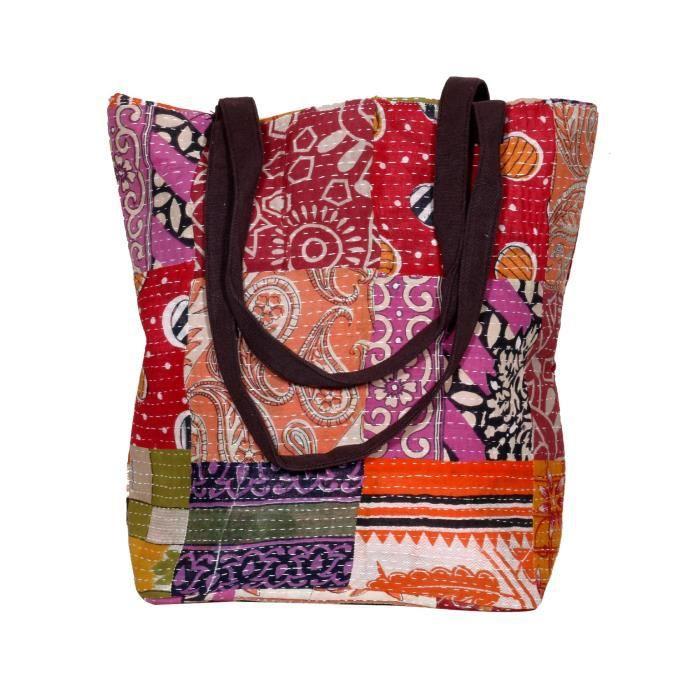 femmes vintage coton kantha travail toile poignée sacs à bandoulière à la main ZHXHY
