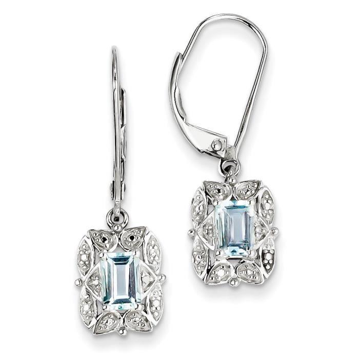 Argent Sterling diamant et topaze bleu clair-Boucles doreilles