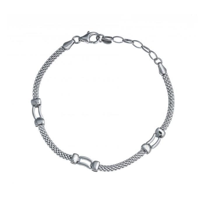 Bracelet argent rhodié - 17+3cm - RE 303 Gris