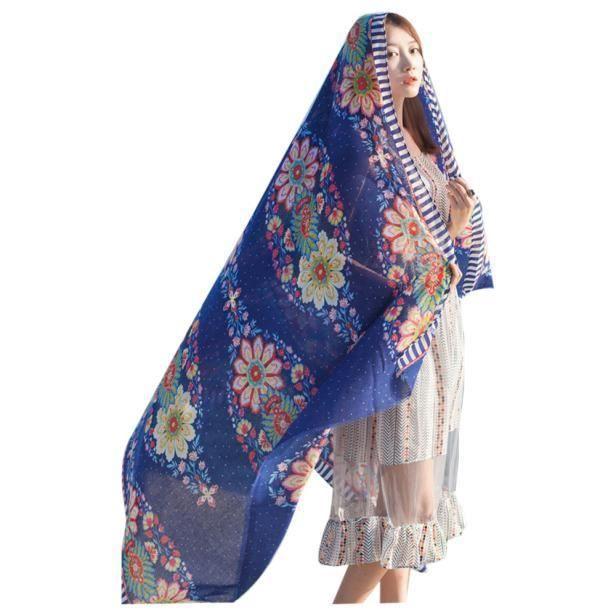 Napoulen®mode Écharpe Printemps Eté dames style ethnique foulard ... 20f861e1a08