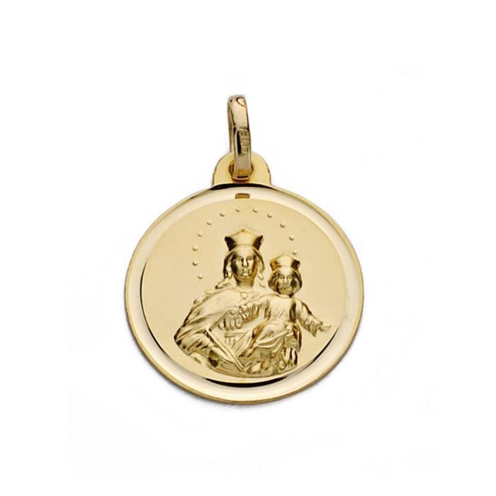 Médaille pendentif or 18k Vierge Marie Auxiliatrice 18mm. [AA0603]