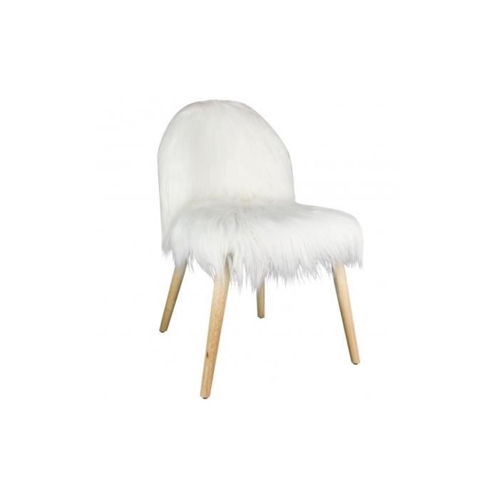 Chaise Fausse Fourrure Blanche Hygge