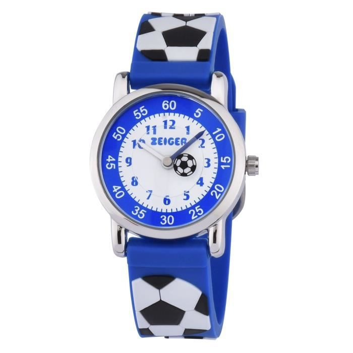 7f9c85fc596fc0 Montre Pédagogique Enfant Garçon Quartz KZKR Bleu avec Bracelet en ...