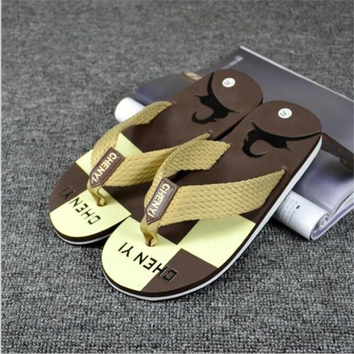 Tongs homme branché plein air 2017 nouvelle marque de luxe chaussure Grande Taille 40-44 qualité supérieure Plus couleur marron noir