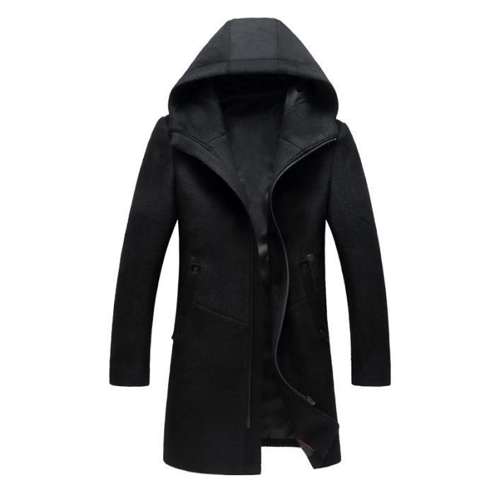 manteau laine capuche longue homme marque luxe hiver pour hommes slim fit zipper noir noir. Black Bedroom Furniture Sets. Home Design Ideas