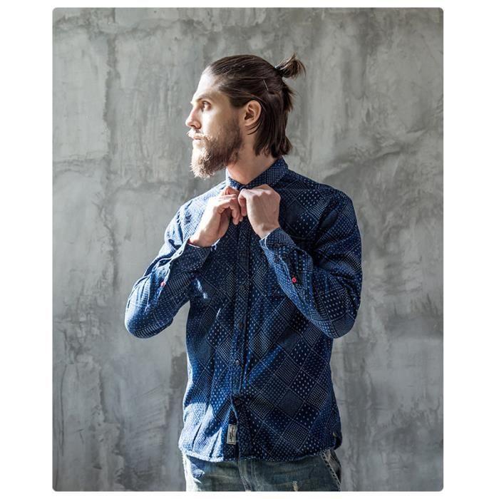 Chemise En Jean Homme Bleu Style Retro Mode Jacquard Manche Longue