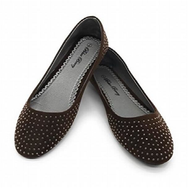 Easy21 Casual Flats Ballet Fashion Shoes Faux Leather ZOO3B Taille-38 1-2