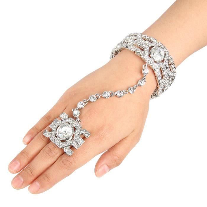 EVER FAITH®-Cristal Autrichien Hexagonal Bracelet Femme Réglable Bague Parures Clair A06556-2