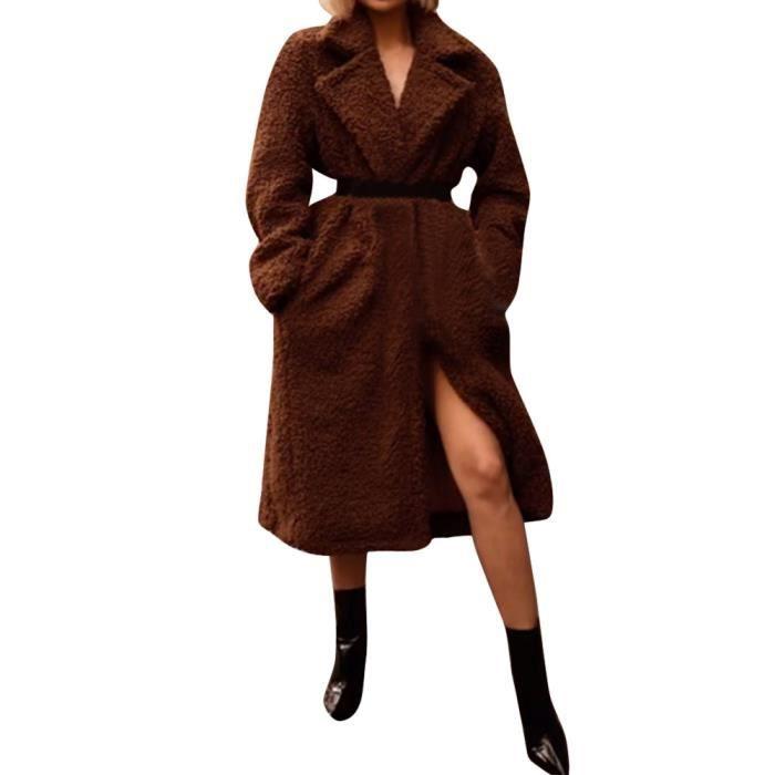 Peluche En Manches Bouton App7981 Veste Ouverte Longues Poche Cardigan Épais Femmes qqwpRU8g