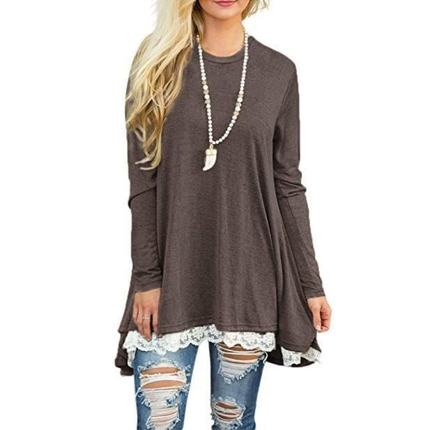Brochage dames dhiver dentelle T-shirt Taille col roulé Robe