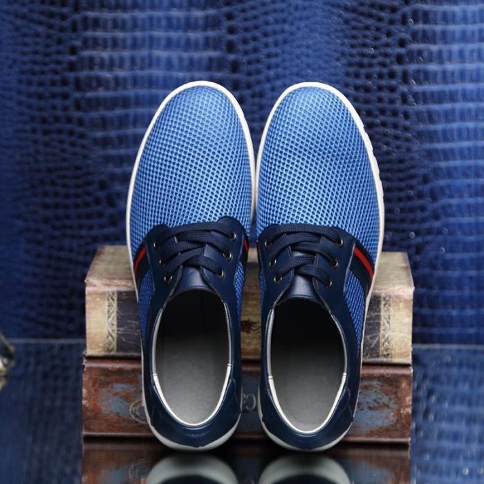 2017 Nouveau Hommes Chaussures Casual, Mesh été pour les hommes, Super Light Flats Chaussures, Pied d'emballage,bleu,37