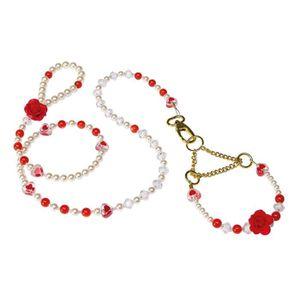 RUBY Parure - Ensemble de laisse et de collier pour chien rouge et blanc - Tour de cou : 24 ? 30cm - Longueur 122cm