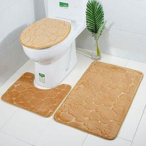 ANTI DERAPANT BAIN 3Pcs En Kit Tapis De Bains Toilettes Housse Couver