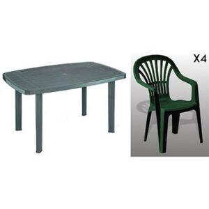 Table jardin plastique vert - Achat / Vente pas cher