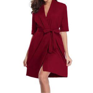 PEIGNOIR DE BOXE Femmes Coton moitié Robe souple Kimono Robes trico