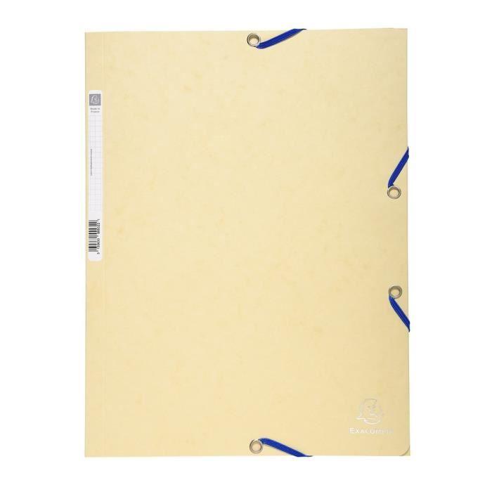EXACOMPTA - Chemise à élastiques 3 rabats - 24 x 32 - Carte lustrée 390G - Couleur ivoire