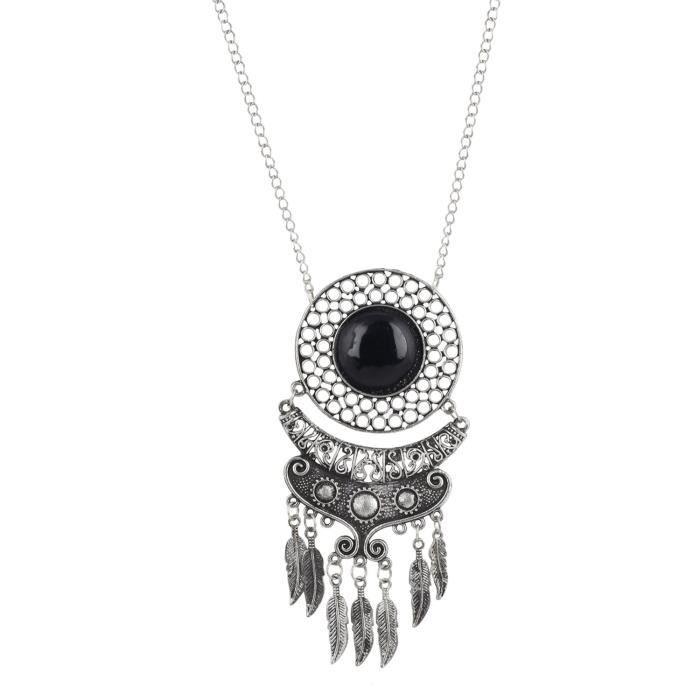 DESIGNER FEMME main perles noires collier dargent pour etPZTAX