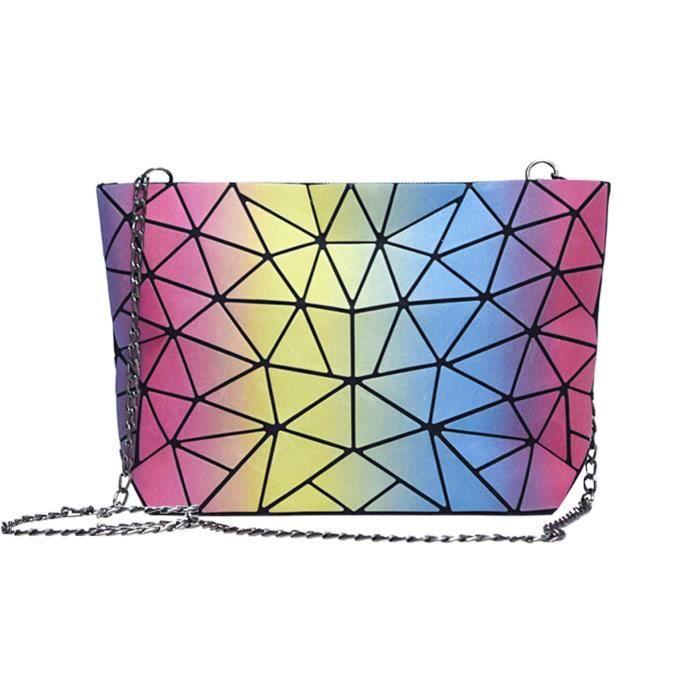 Épaule Hologram géométrique diamant Plaid sac à main sac fourre-tout Femme Sacs NFIKJ